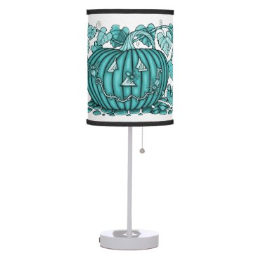 Halloween Themed Aqua Spidery Pumpkin Table Lamp