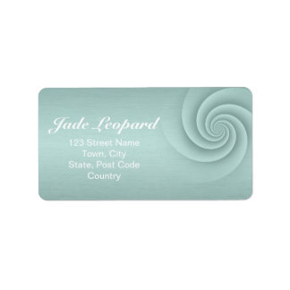 Aqua Spiral in brushed metal texture Personalized Address Label