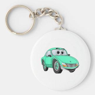 Aqua Sports Car Cartoon Basic Round Button Keychain