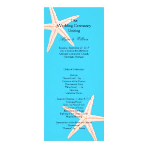Aqua Starfish Affordable Long Wedding Program Rack Card Template