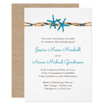 Beach Themed Aqua Starfish and Nautical Rope Wedding 2 Card