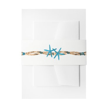 Beach Themed Aqua Starfish and Nautical Rope Wedding Invitation Belly Band