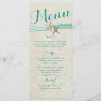 Aqua Starfish and Ribbon Beach Wedding Menu