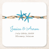 Aqua Starfish and Rope Wedding Square Paper Coaster