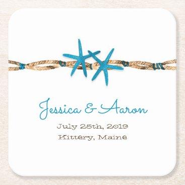 Beach Themed Aqua Starfish and Rope Wedding Square Paper Coaster