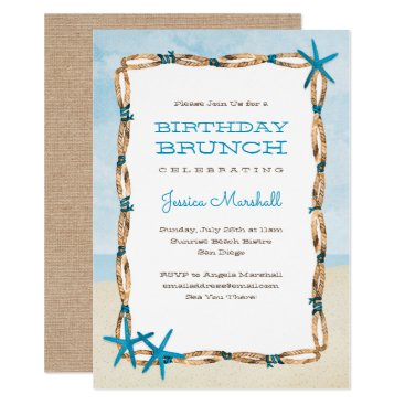 Beach Themed Aqua Starfish and Watercolor Beach Birthday Card