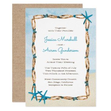 Beach Themed Aqua Starfish and Watercolor Beach Wedding Card