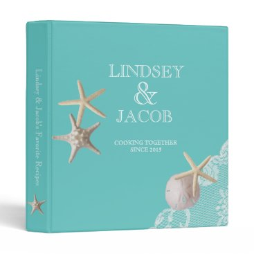 Beach Themed Aqua Starfish Beach Recipes Binder