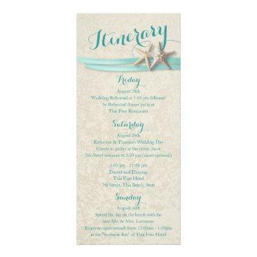 Aqua Starfish Beach Wedding Itinerary Rack Card