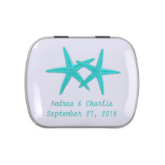 Aqua Starfish Custom Wedding Favor Mint Tin Jelly Belly Candy Tin at Zazzle