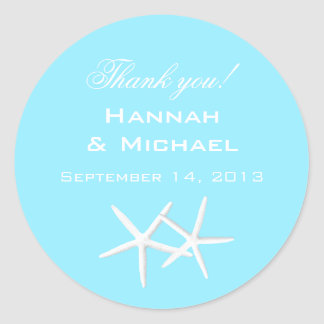 Aqua Starfish Round Personalized Thank You Labels