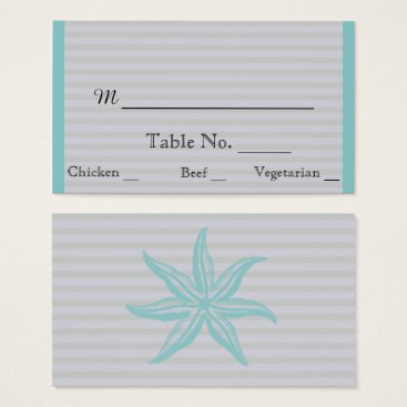 Beach Themed Aqua Starfish Stripe Beach Wedding Place Cards