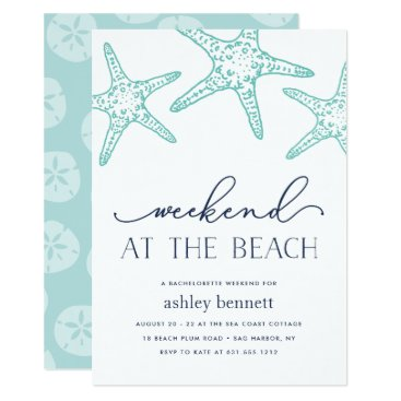 Beach Themed Aqua Starfish | Weekend at the Beach Invitation