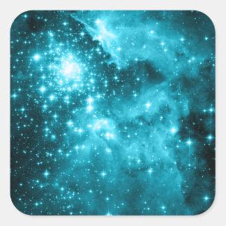 Aqua Stars Square Stickers