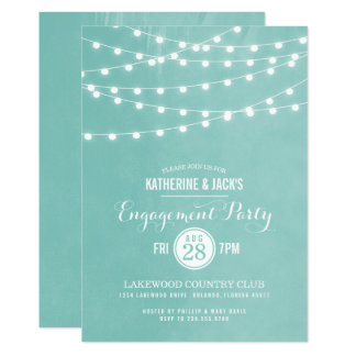 Aqua String Lights Engagement Party Invitation