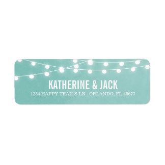 Aqua String Lights Wedding Address Labels