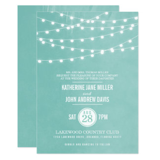 Aqua String Lights Wedding Invitation