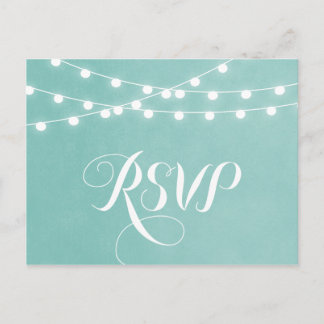 Aqua String Lights Wedding RSVP Postcard