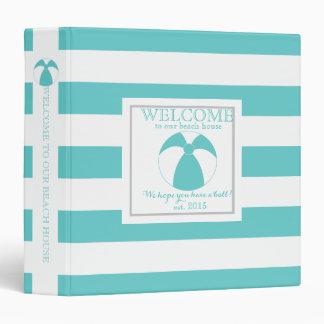 Aqua Stripe Beach Ball Welcome Book Binder