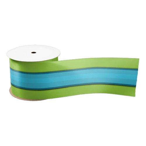 Aqua Stripe Lime Green  Satin Ribbon