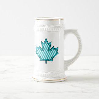 Aqua Striped  Applique Stitched Maple Leaf Beer Stein