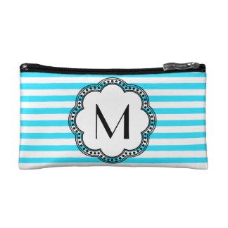 Aqua Striped Floral Vintage Style Border Monogram Cosmetic Bag