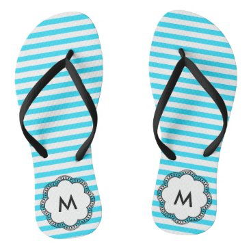 Beach Themed Aqua Striped Flower Monogram Initial Flip Flops