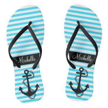 Beach Themed Aqua Striped Name with Anchor Flip Flops