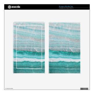 Aqua Striped Quartz Crystal Decals For Kindle Fire