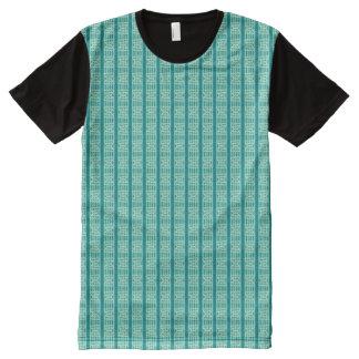 Aqua Stripes and Trapezoids All-Over Print T-shirt