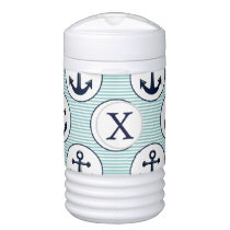 aqua stripes , blue anchor nautical pattern beverage cooler