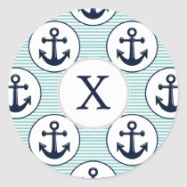 aqua stripes , blue anchor nautical pattern classic round sticker