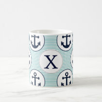 aqua stripes , blue anchor nautical pattern coffee mug