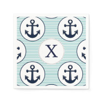 aqua stripes , blue anchor nautical pattern paper napkin