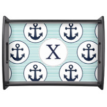aqua stripes , blue anchor nautical pattern serving tray