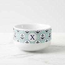 aqua stripes , blue anchor nautical pattern soup mug