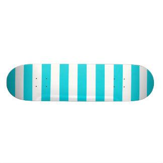 Aqua Stripes Pattern Skateboard