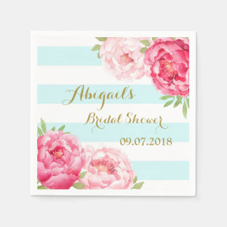 Aqua Stripes Pink Watercolor Bridal Shower Napkins