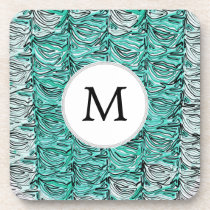 Aqua Stylized zebra print Beverage Coaster