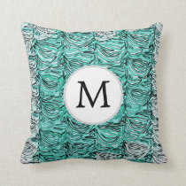 Aqua Stylized zebra print Throw Pillow