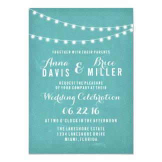 Aqua Summer String Light Wedding Invites