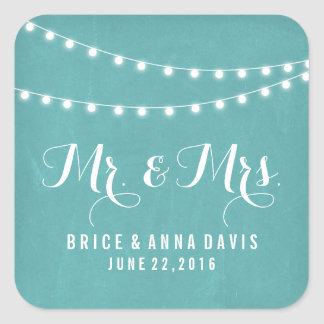 Aqua Summer String Light Wedding Stickers