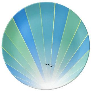 "Aqua Sunbeam & Seagulls ""FlyAway"" Plate"