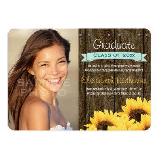 Aqua Sunflower Graduation Announcement