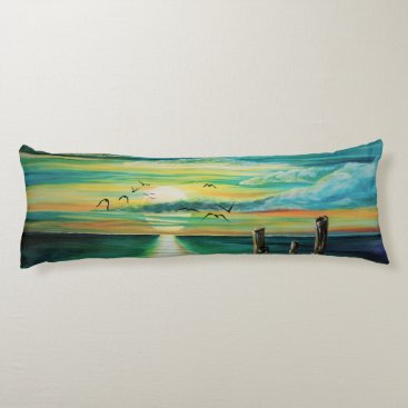 Aqua sunset body pillow