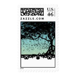 Aqua Sunset Vector Art Postage Stamps stamp