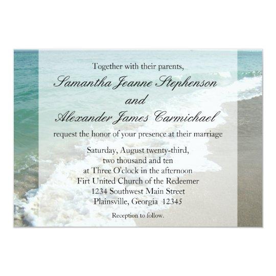 Aqua Surf Crashing Water Beach Destination Wedding Card