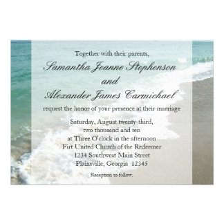 Aqua Surf Crashing Water Beach Destination Wedding Custom Announcements