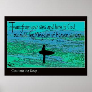 Aqua Surfer Turn From Sins Sinner Repent Print