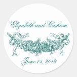 Aqua Swag Romantic Stckers / Envelope Seals Round Sticker